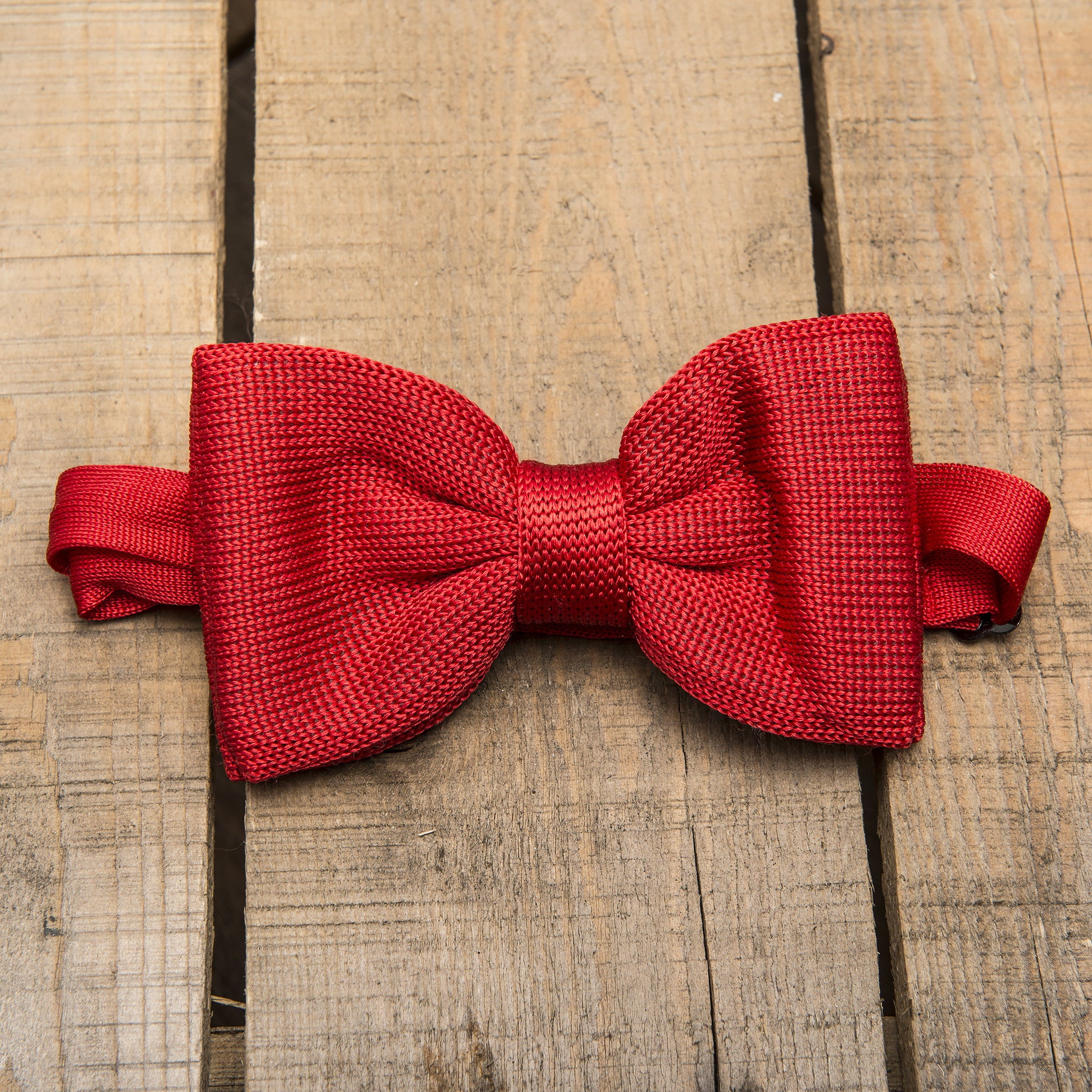 Red Knitted Silk Bow Tie