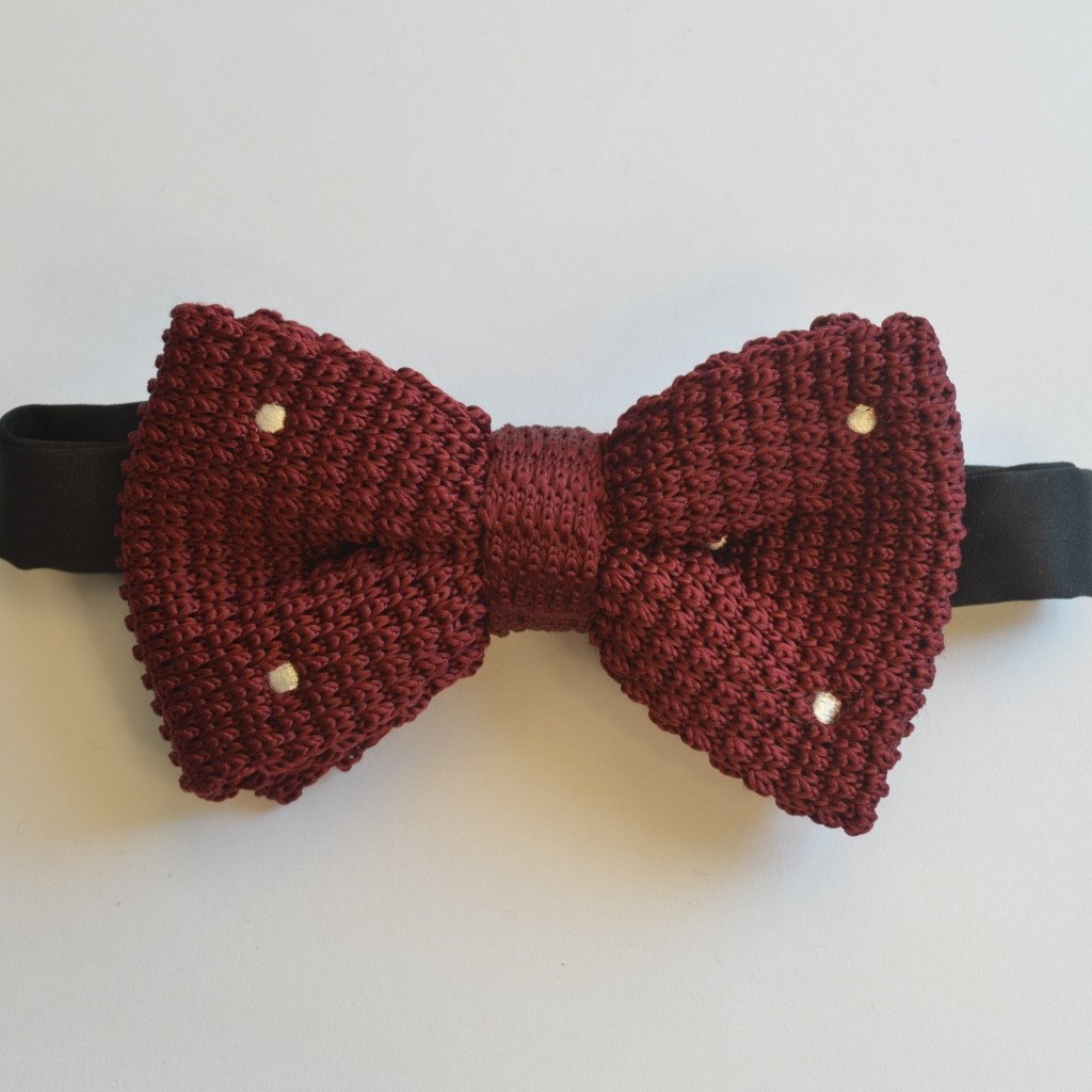 Burgundy and White Spotted Knitted Bow Tie