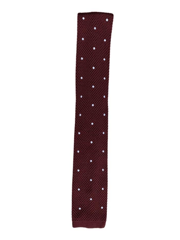 Bugundy Polka Dot Knitted Tie
