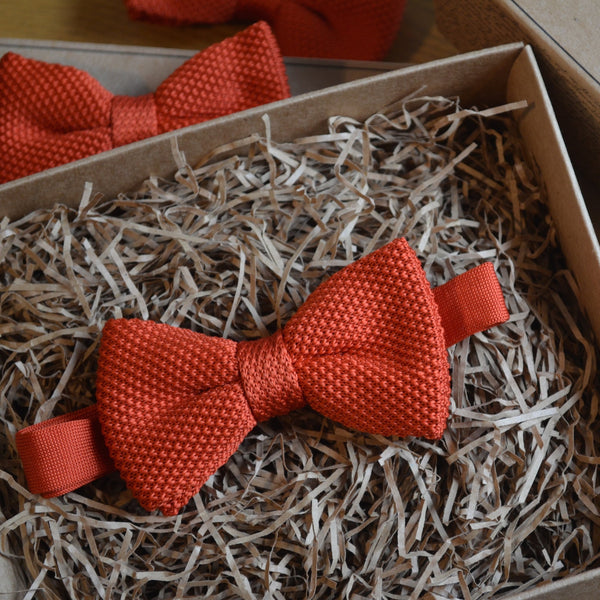 Red Waffle Knitted Wedding Bow Tie