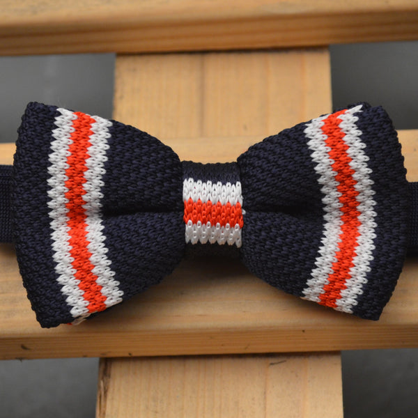 Red, Navy Blue and White Stripe Knitted Bow Tie
