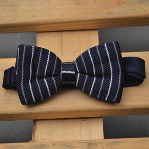 Navy Blue, Blue and White Stripe Knitted Bow Tie