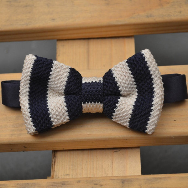Navy Blue and Cream Stripe Knitted Bow Tie