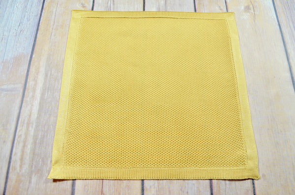 Silk Knitted Pocket Square - Gold