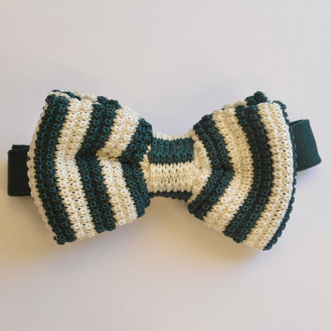 Green and White Stripe Knitted Bow Tie