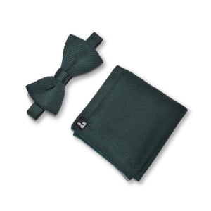 Green Knitted Bow Tie and Knitted Pocket Square Set