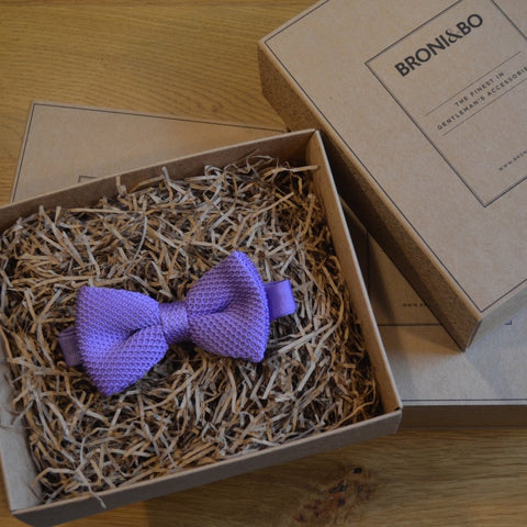 Lilac Knitted Wedding Bow Tie