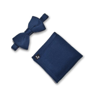 midnight blue knitted bow tie and knitted pocket square