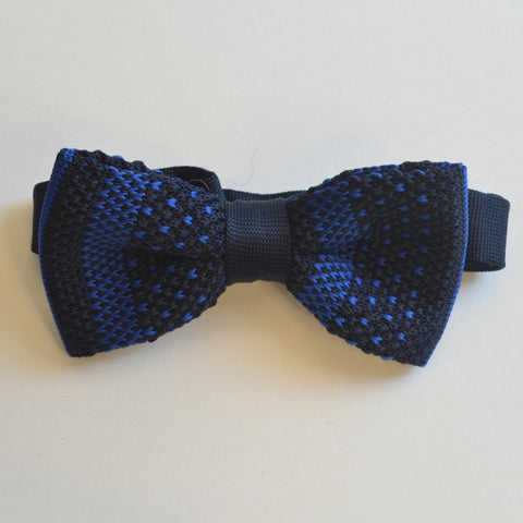 Navy Blue and Blue Detail Knitted Bow Tie