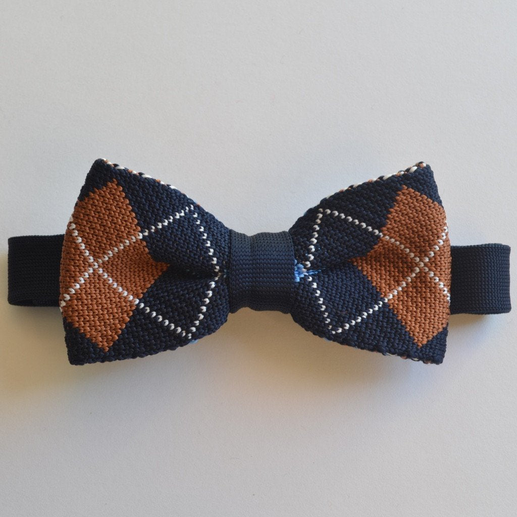 Navy Blue and Brown Diamond knitted bow tie