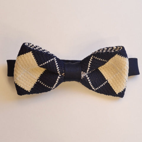 Navy Blue and Cream Diamond knitted bow tie