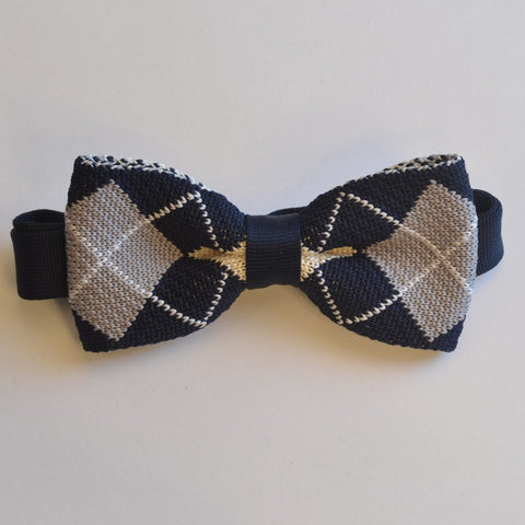 Navy Blue and Grey Diamond Knitted Bow Tie