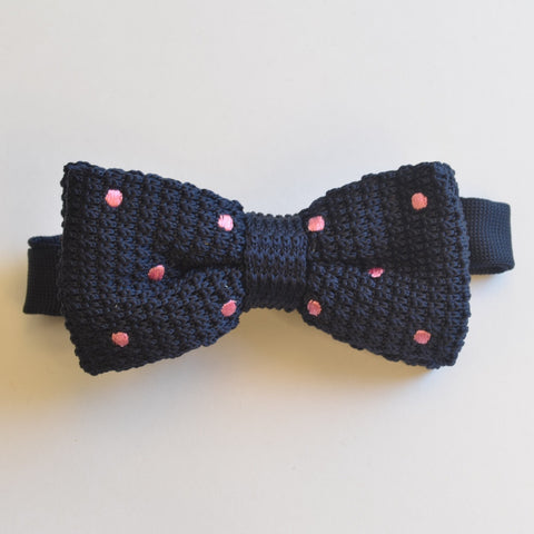 Navy Blue and Pink Polka Dot Knitted Bow Tie