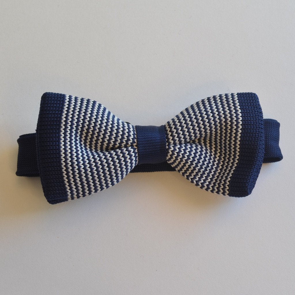 Navy Blue and Thin White Stripe Knitted Bow Tie
