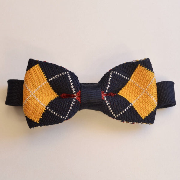 Navy Blue and Yellow Diamond Knitted Bow Tie