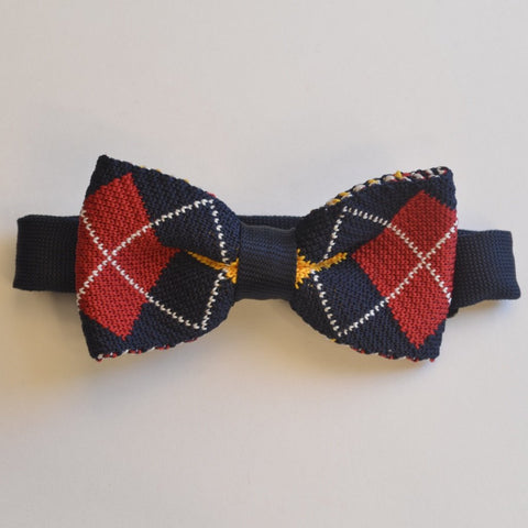 Navy Blue and red diamond knitted bow tie