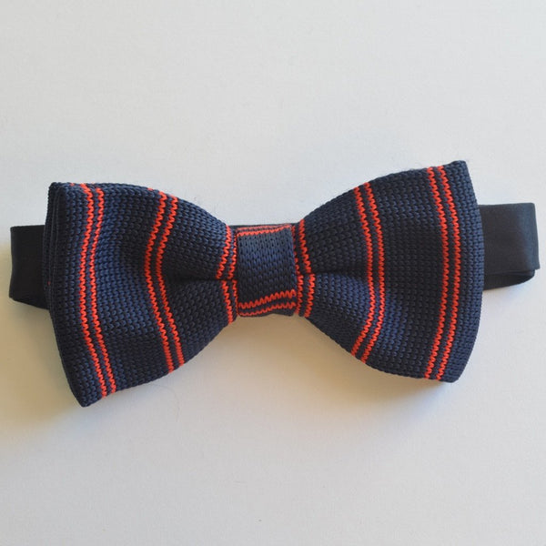 Navy Blue and red striped knitted bow tie