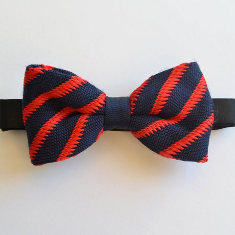 Navy Blue with Red Stripe Knitted Bow Tie