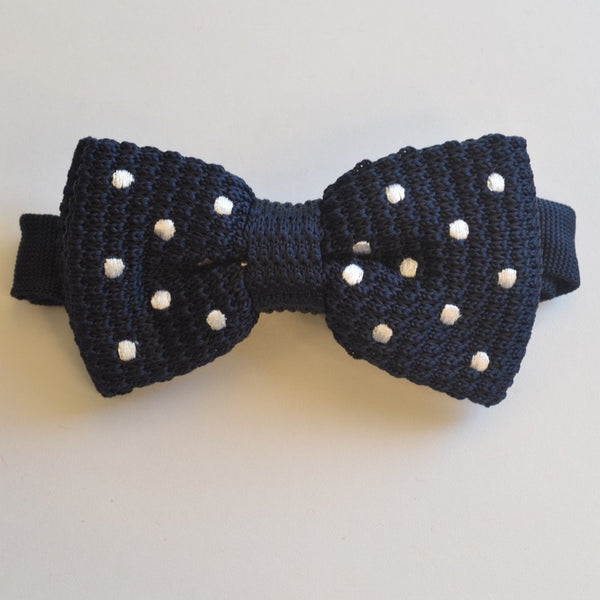 Navy Blue with White Polka Dot Knitted Bow Tie