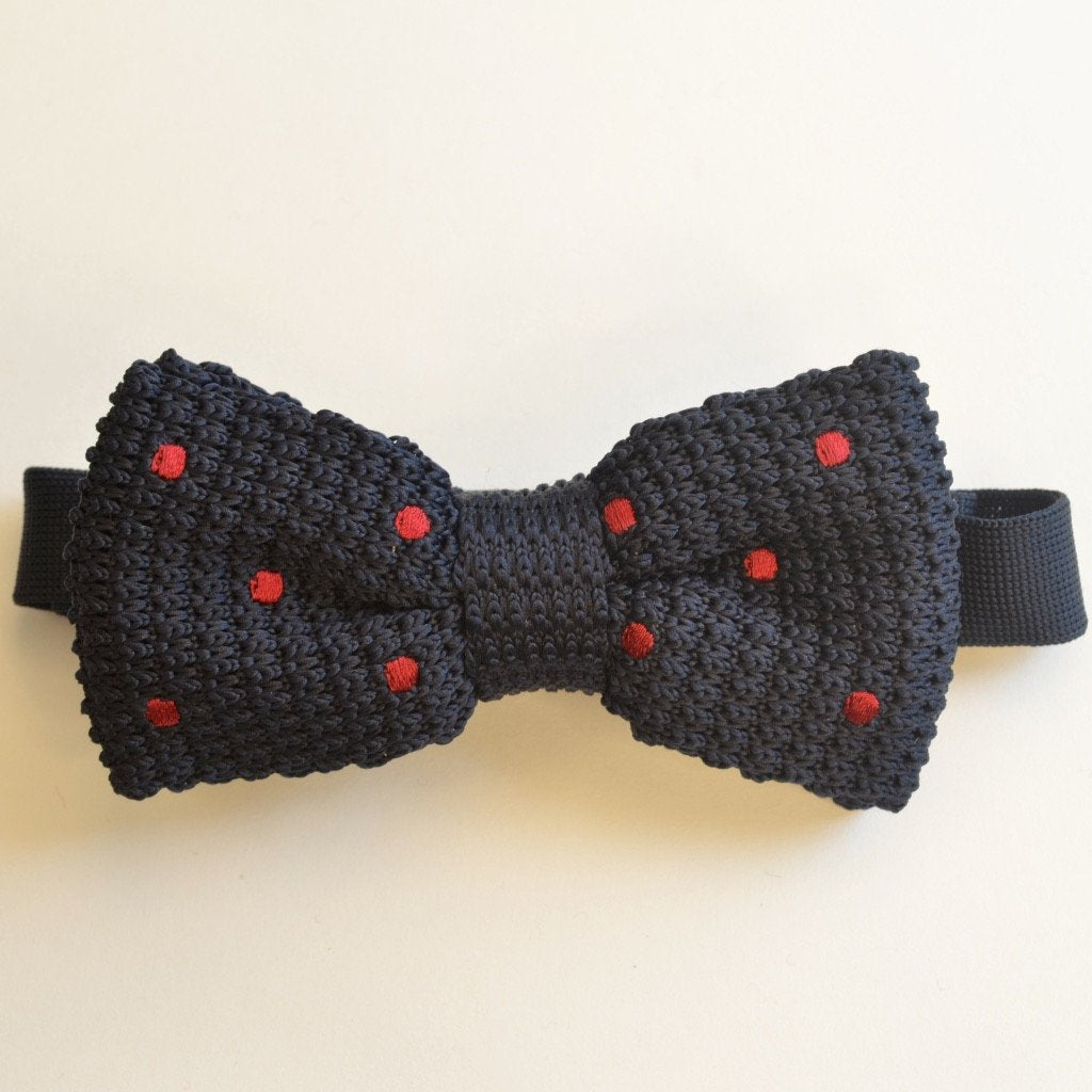 Navy Blue and Red Spotty Knitted Bow Tie