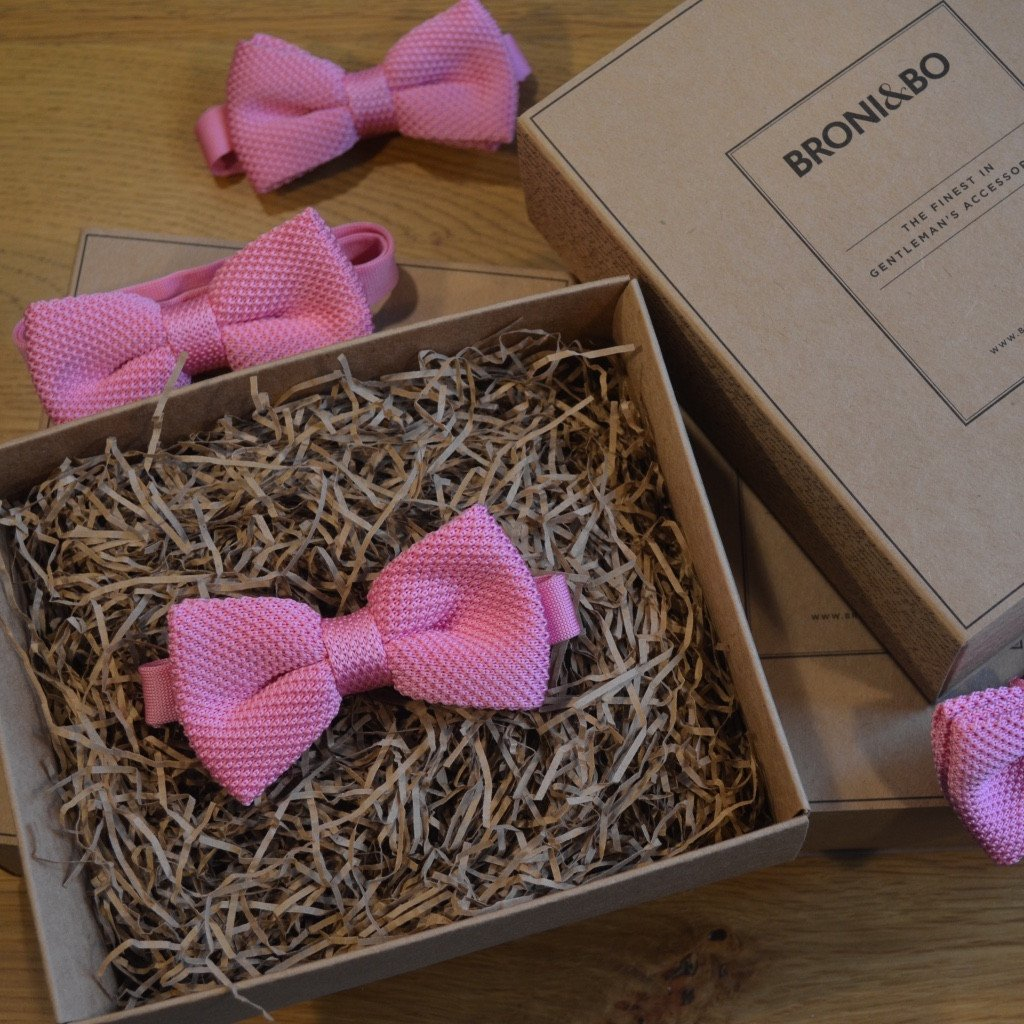 Pink Knitted Wedding Bow Tie