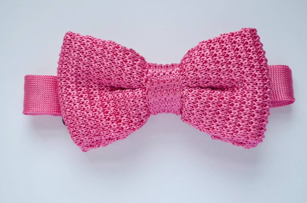 Childrens Pink knitted silk bow tie