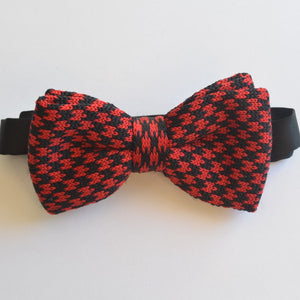 Red and Black check knitted bow tie
