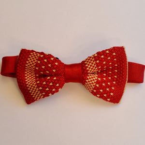 Red and Orange Knitted Bow Tie
