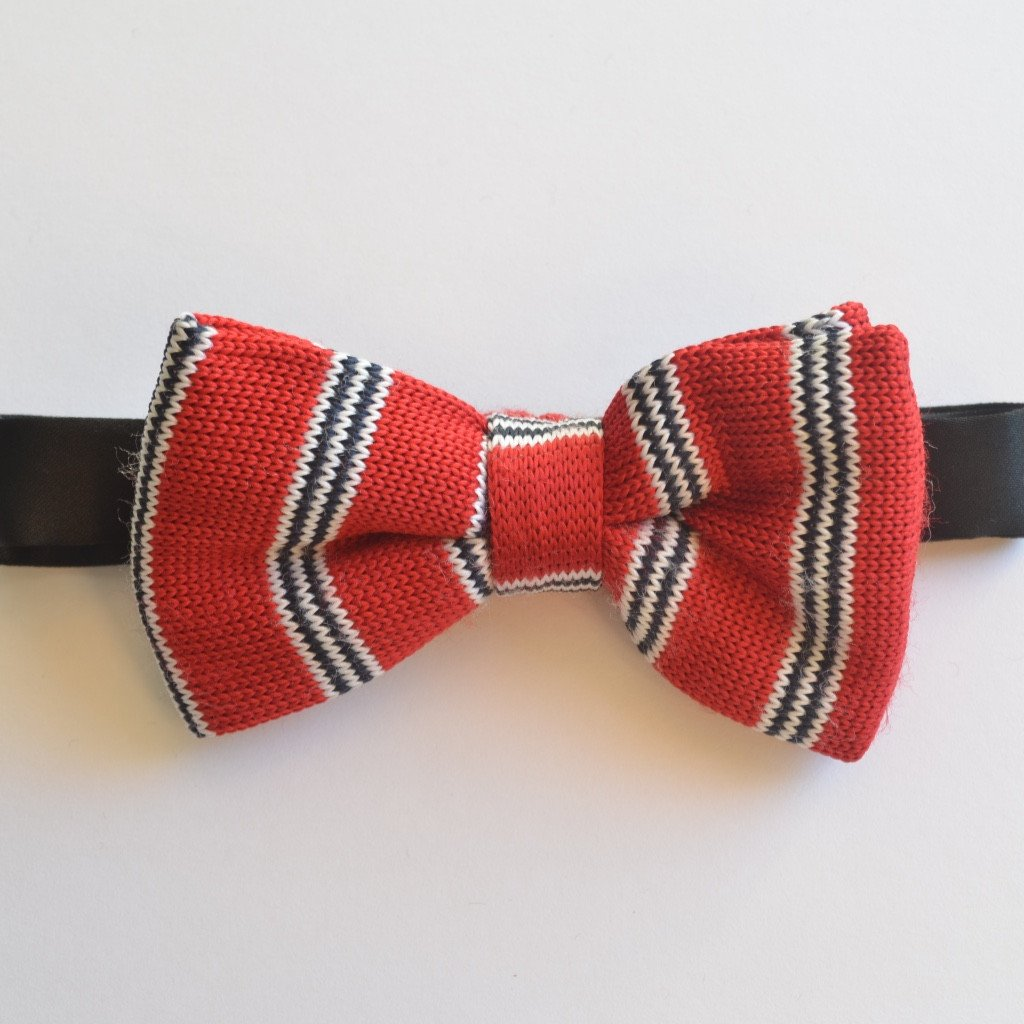 Red, Black and White Stripe Knitted Bow Tie