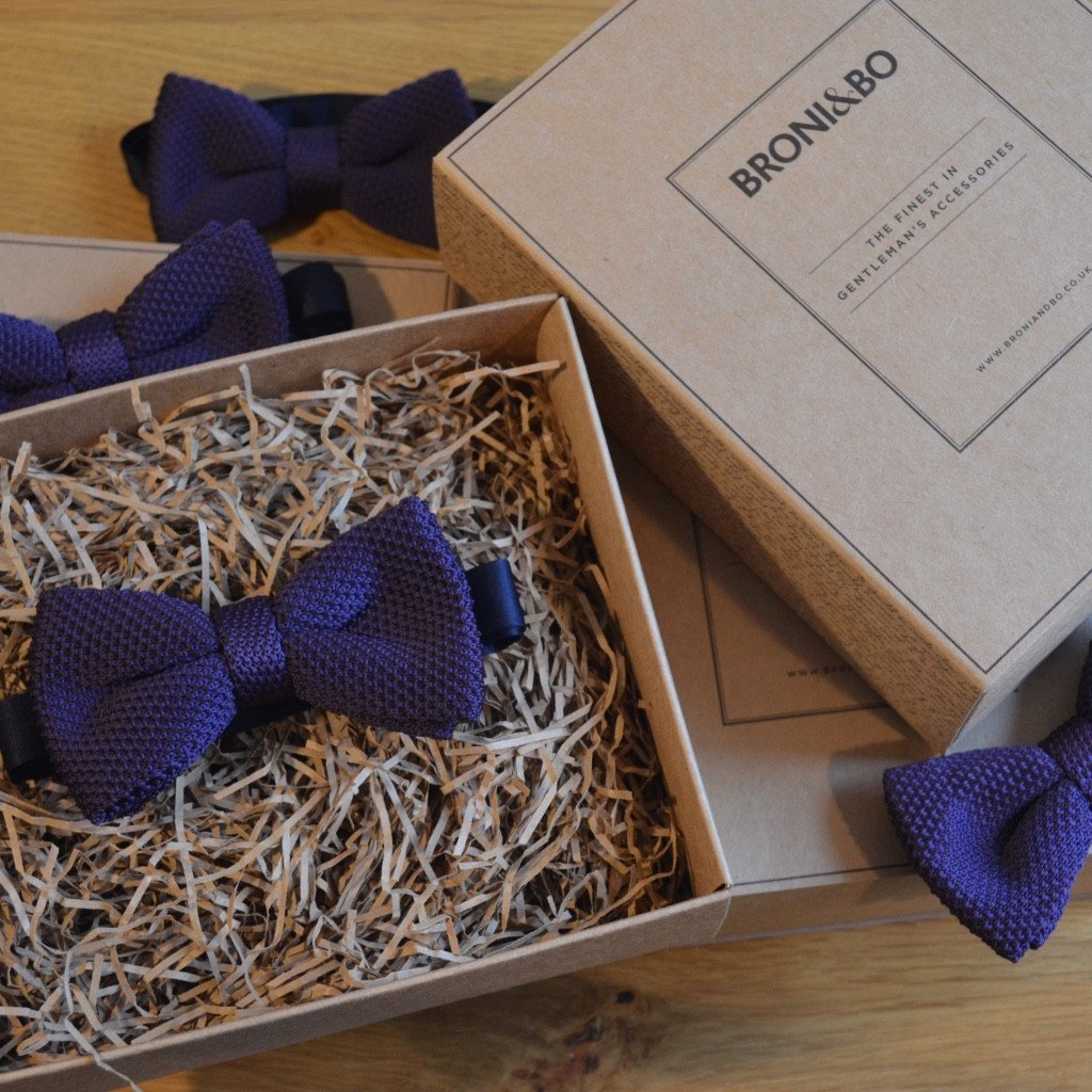 Royal Purple Knitted Wedding Bow Tie