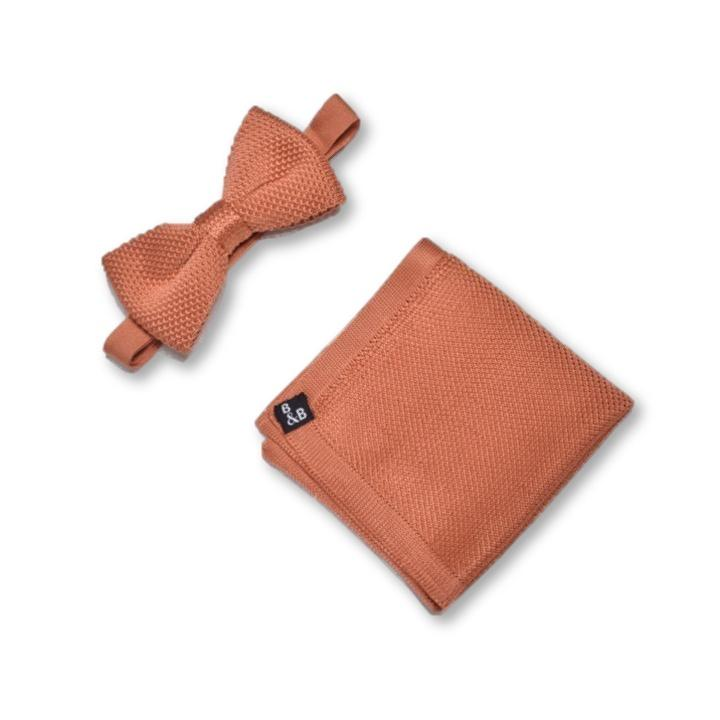 Rustic Orange Knitted Bow Tie and Knitted Pocket Square Set