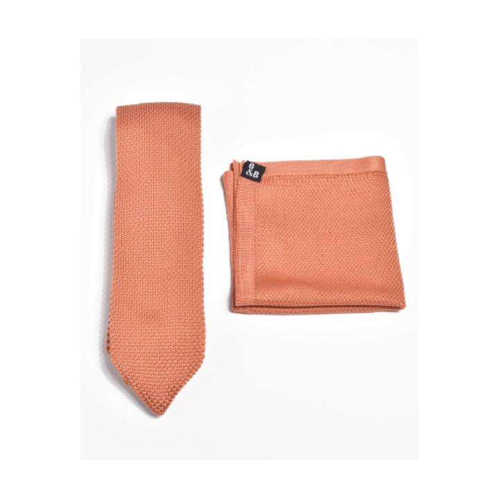 Rustic orange knitted tie and pocket square set