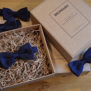 Slim Navy Blue Knitted Wedding Bow Tie