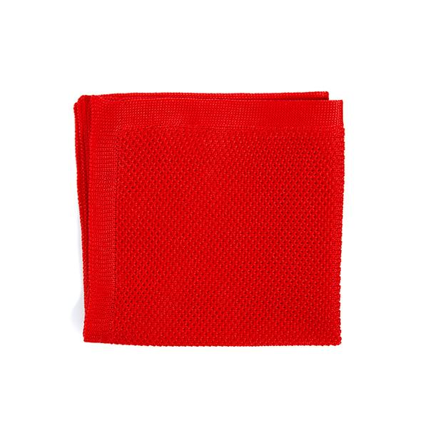 Knitted Pocket Square - Pillar Box Red