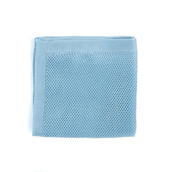 Misty Blue knitted pocket square