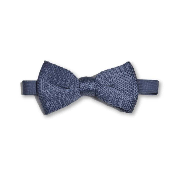 Stone Blue Knitted Bow Tie | Wedding
