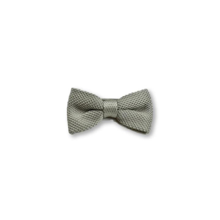 Children's stone grey knitted bow tie