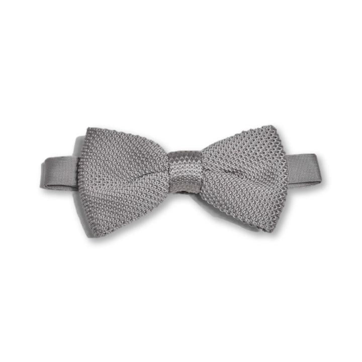 Stone Grey Knitted Bow Tie | Wedding