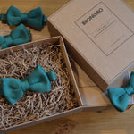 Teal Knitted Wedding Bow Tie