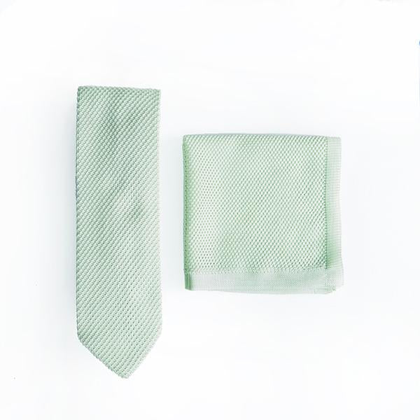 Peppermint Knitted Tie and Knitted Pocket Square Set