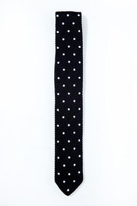 Black Polka Dot Knitted Tie