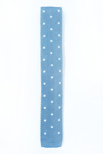 Steel Blue Polka Dot Knitted Tie