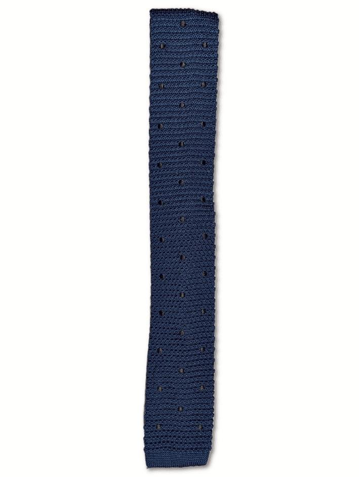 Prussian Blue Polka Dot Knitted Tie
