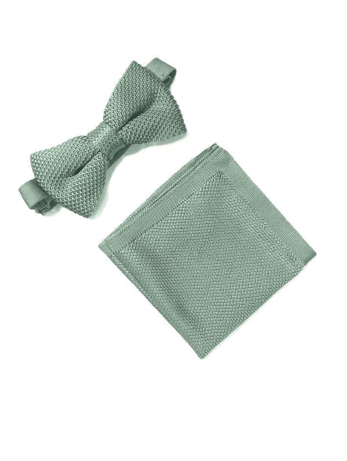 Sage green bow tie and pocket square set