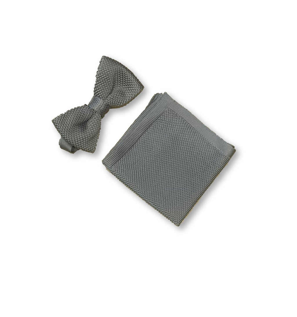 Stone grey knitted bow tie and pocket square set