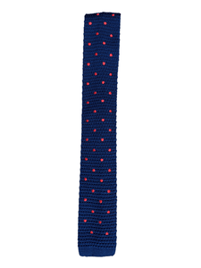 Navy Blue Polka Dot Knitted Tie