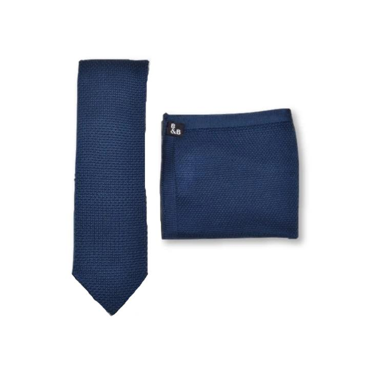Midnight Blue Knitted Tie and Knitted Pocket Square Set