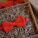 Slim Red Knitted Wedding Bow Tie