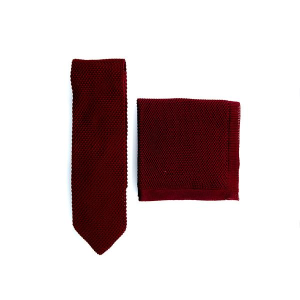 Burgundy Knitted tie and pocket square set