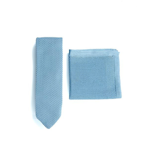 Misty blue knitted tie and pocket square set